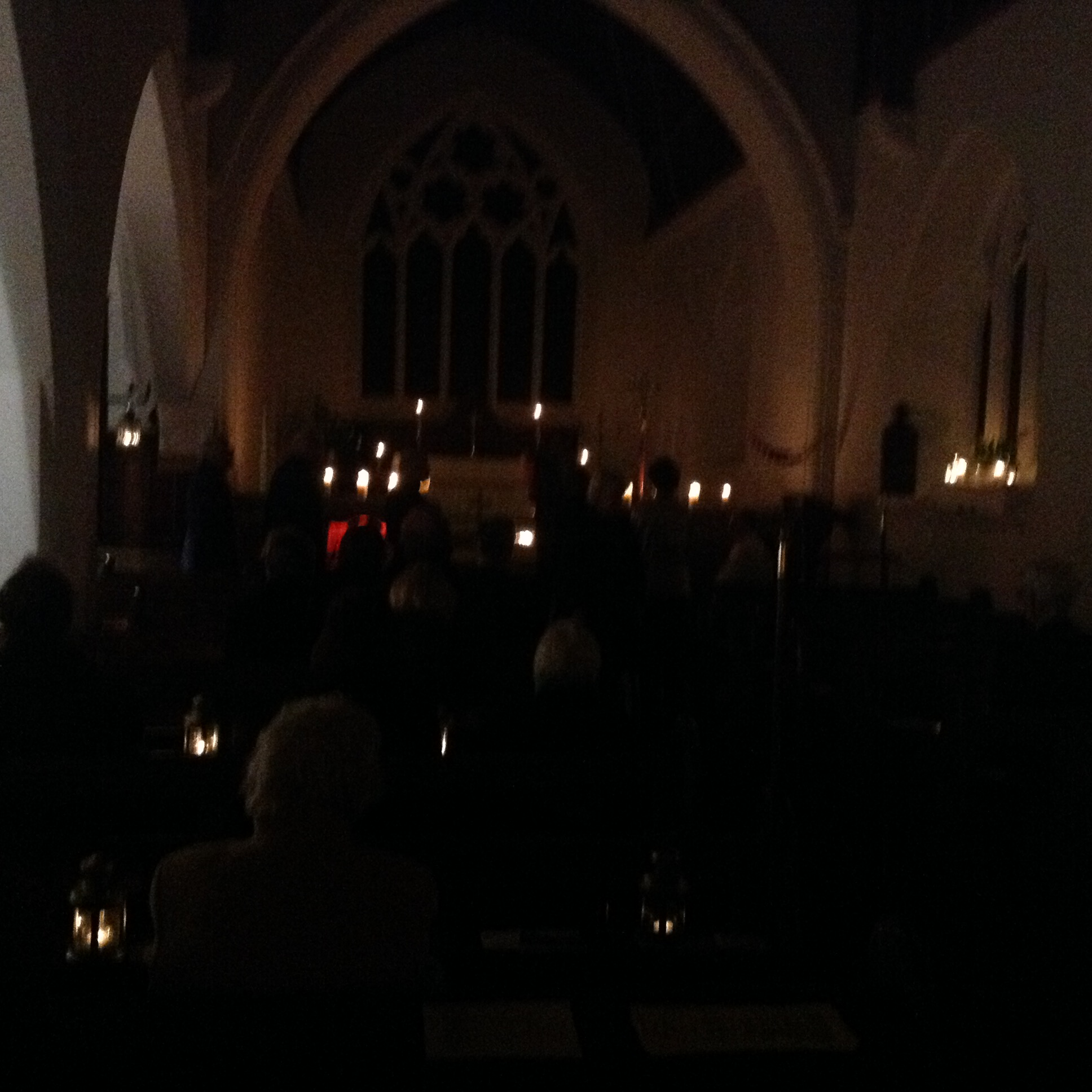 The church lit by candlelight