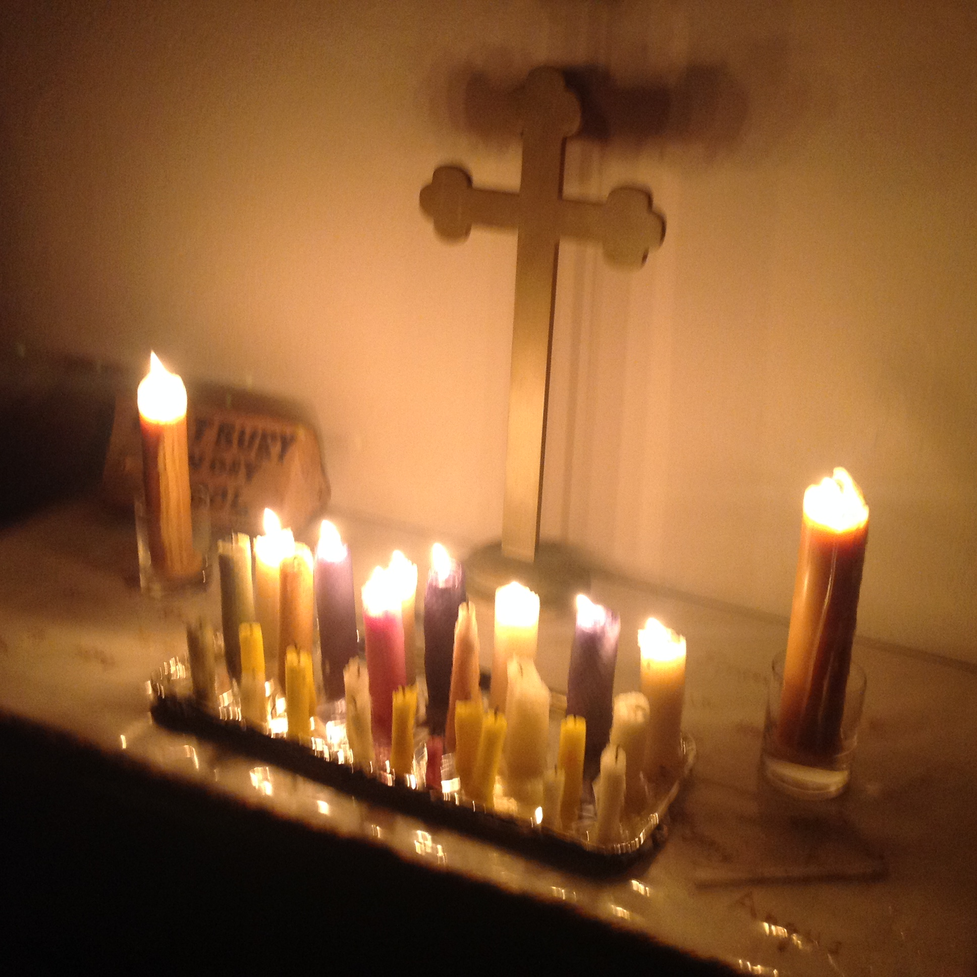 Candles made by the Sunday School for the children's altar